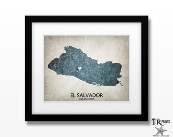 El Salvador Map Print - Home Is Where The Heart Is Love Map - Original Custom Map Art Print Available in Multiple Size and Color Options