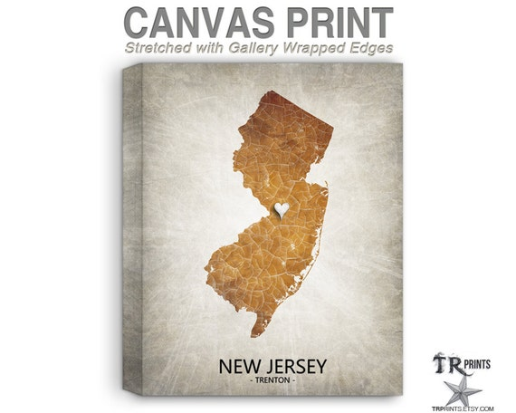 New Jersey Map Stretched Canvas Print Home Is Where The   Etsy