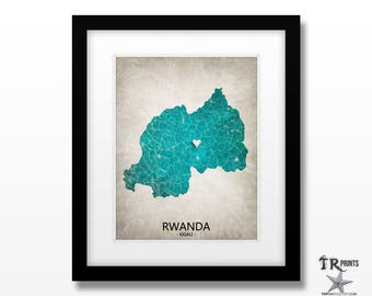 Rwanda Country Map Art Print - Home Is Where The Heart Is Love Map - Custom Map Art Print Available in Multiple Size and Color Options