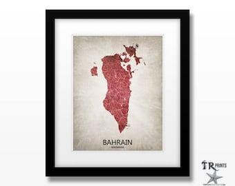 Bahrain Map Artwork Print - Home Is Where The Heart Is Love Map - Original Custom Map Print