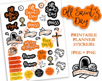 All Saints Day Liturgical Calendar printable Catholic Planner Stickers All Hallow's Eve All Soul's Day penance prayer rosary Reminders Mass