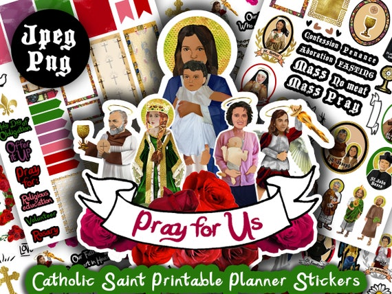 photograph about St Nicholas Prayer Printable called Catholic Saints Printable Planner Stickers Clip Artwork Mary St. Pio Margaret Michael Archangel packing containers prayers M vivid vibrant church roses