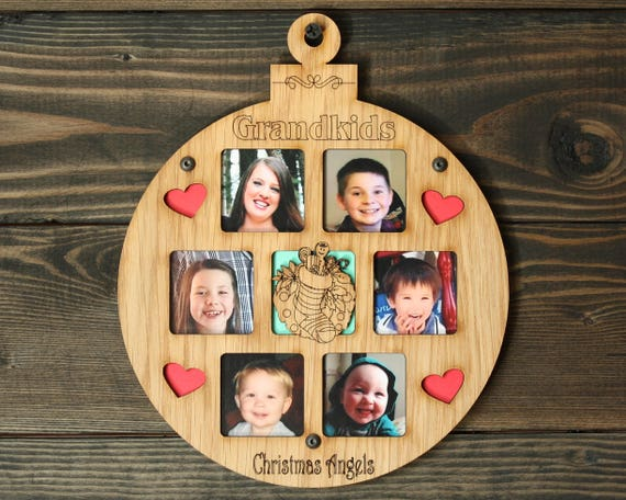 8.5 Christmas Ornament 13 Grandkids Photo Ornament Grandkids Picture Frame Ornaments Personalized Picture Frame Great Grandparents Gifts
