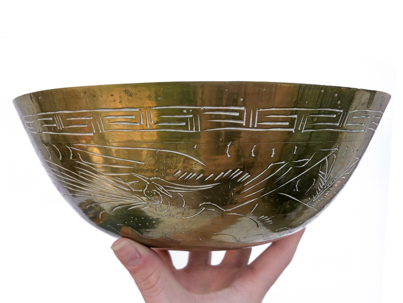 Vintage Chinese Brass Bowl Etched Gold Tone Decorative Bowl image 0