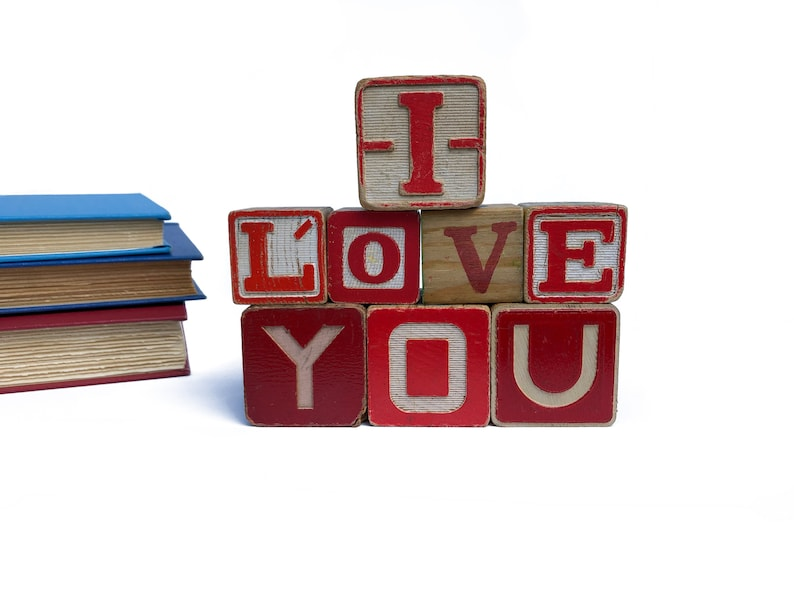 I Love You Spelled With Vintage Wooden Alphabet Blocks Baby image 0