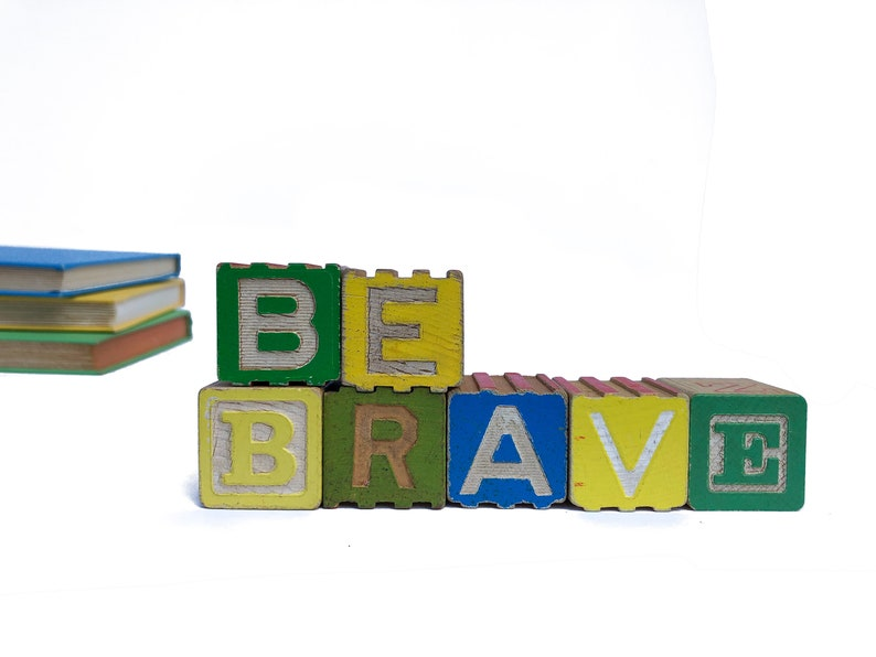 Be Brave Spelled With Vintage Wooden Alphabet Blocks Baby Sign image 0