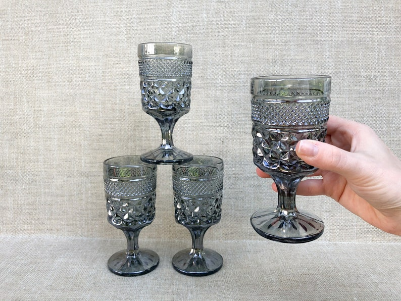 Wexford Pewter Mist Smoke Gray Glass Goblets Vintage image 0