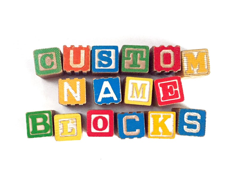 Custom Vintage Name Blocks For Baby Wooden Alphabet Blocks image 0