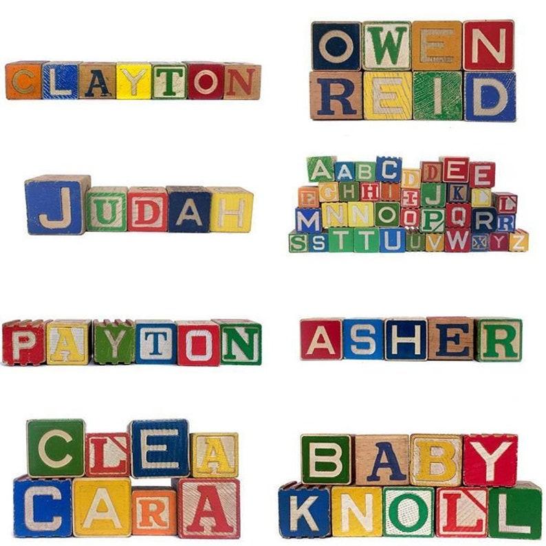 Custom Name Blocks Vintage Wooden Alphabet Block Sets Baby image 0