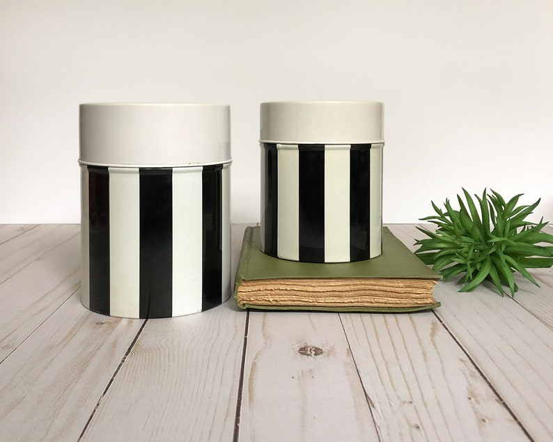 Metal Kitchen Canisters Vintage Retro Nesting Tins Black and image 0