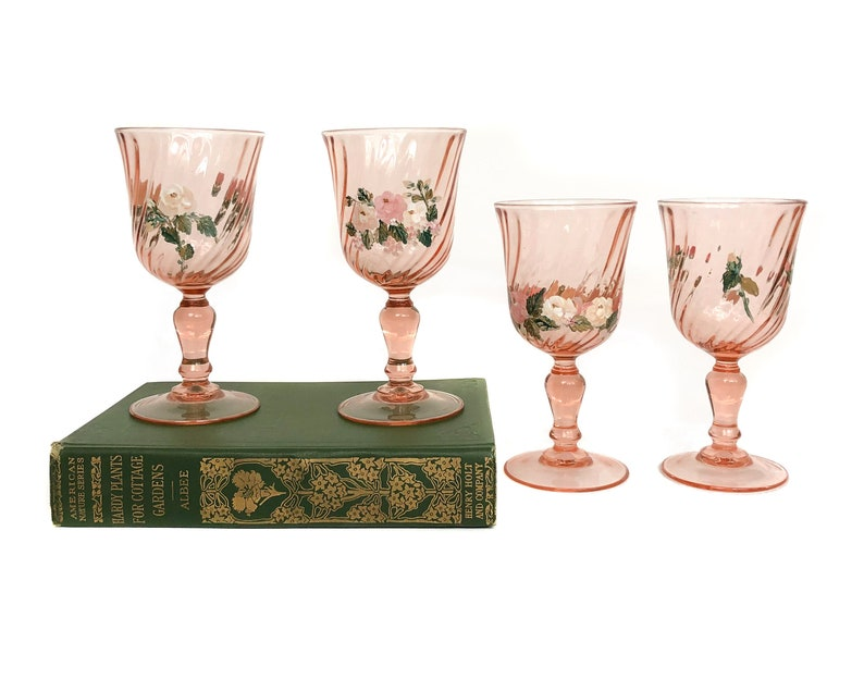French Hand Painted Vintage Blush Pink Glasses Floral image 0