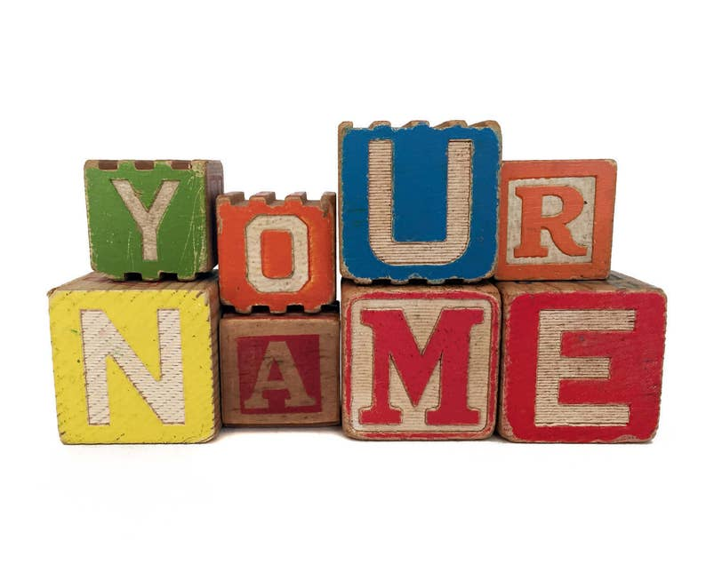 Custom Vintage Wooden Alphabet Blocks Baby Name Nursery Decor image 0
