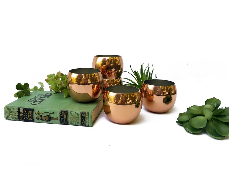 Vintage Copper Roly Poly Cups Tumblers or Planters Coppercraft image 0