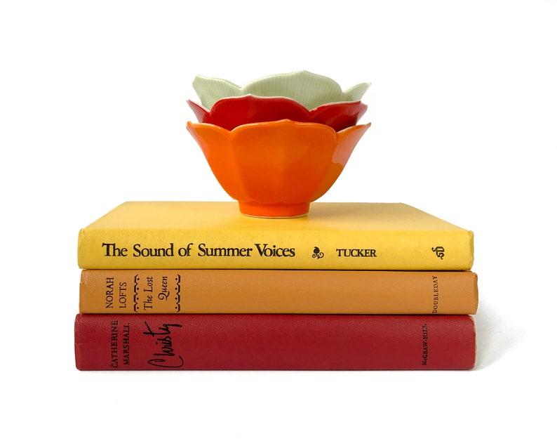 Vintage Lotus Bowl Set Red Orange Green Painted Porcelain Made image 0