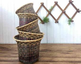 Vintage Nesting Rattan Basket Planters Set of 5 Basket Collection Home Decor Boho Home Decor Bohemian Plant Holder Baskets