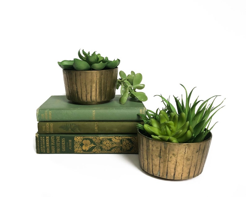 Vintage Brass Planter Set Pair of Two Brass Succulent Planters image 0