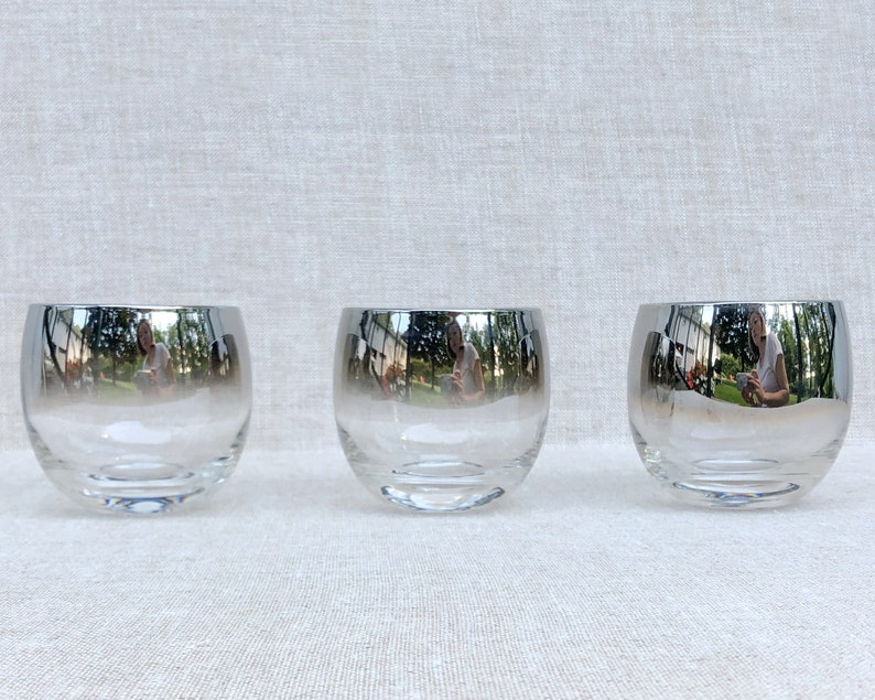 Roly Poly Silver Fade Barware Whiskey Glasses Dorothy Thorpe image 0