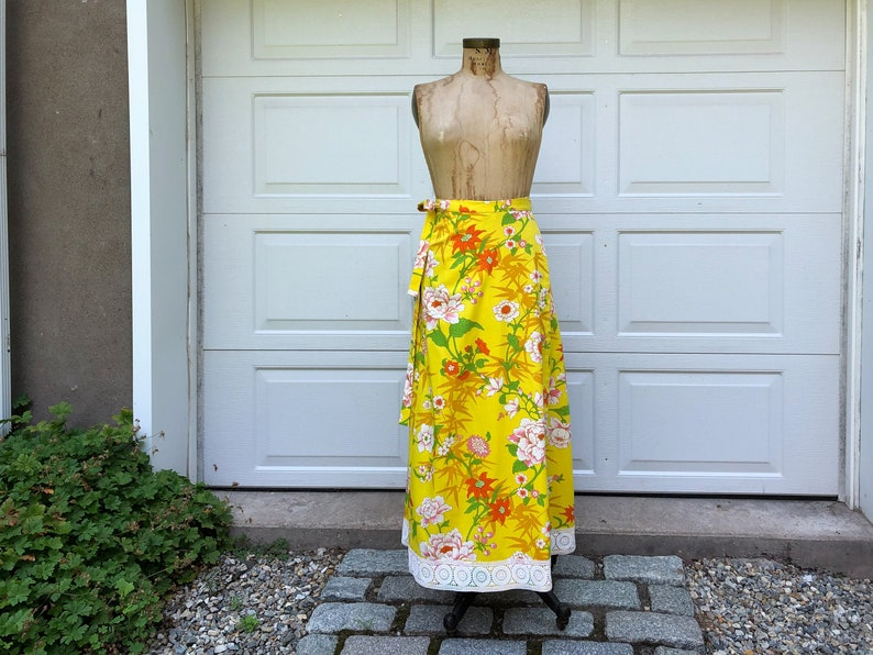 1970's Wrap Skirt Floral Maxi Wrap Skirt Bright Yellow image 0