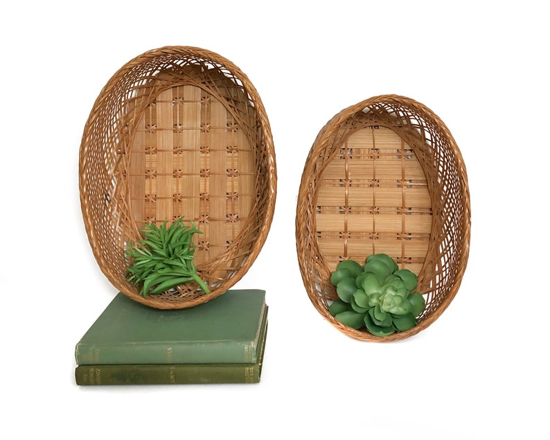 Vintage Oval Wall Baskets Hanging Woven Baskets Home Decor image 0