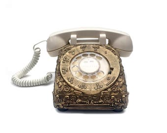Vintage Brass Rotary Phone Cover Desk Accessory Rotary Telephone Accessory Decorative Metal Phone Cover Desk Telephone Rotary Dial Phone