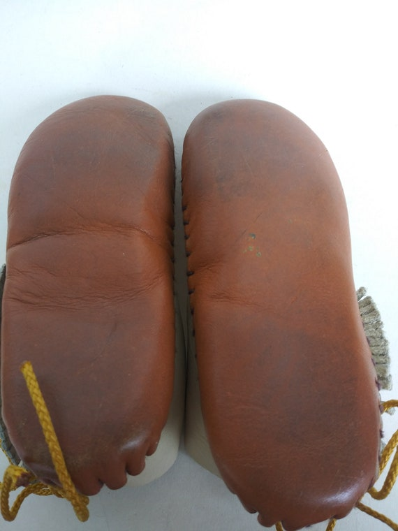 Vintage Child's Moccasins/Soft Leather Baby Slipp… - image 5