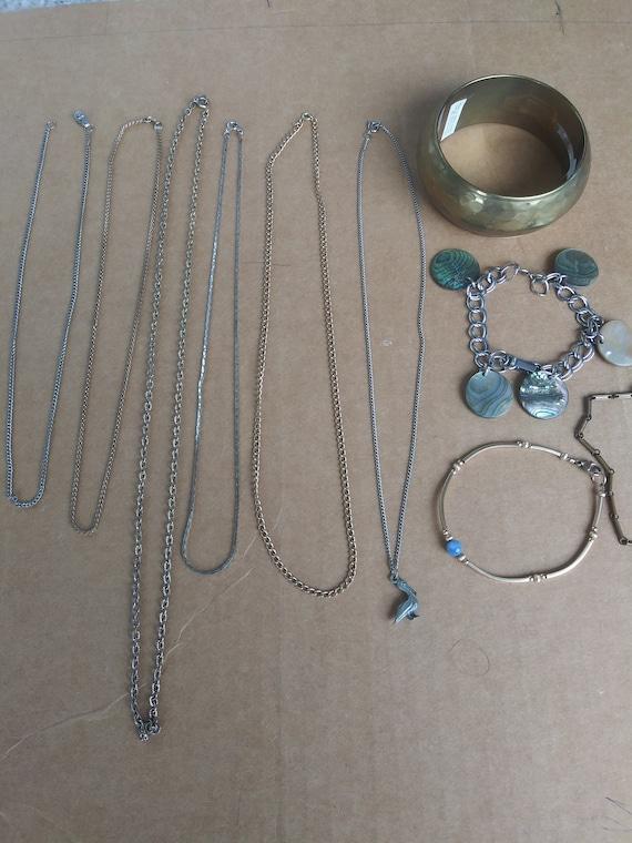 Vintage Costume Jewelry Lot 6 Necklaces 4 Bracelet - image 1