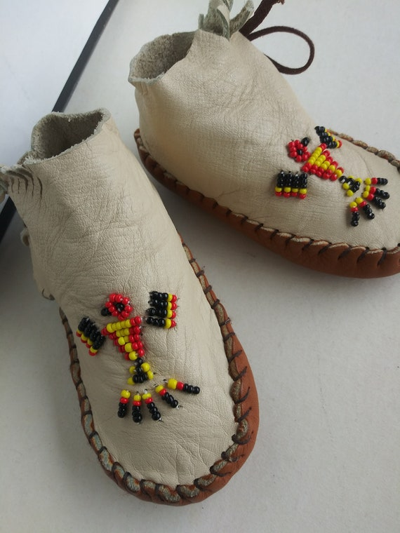 Vintage Child's Moccasins/Soft Leather Baby Slipp… - image 2
