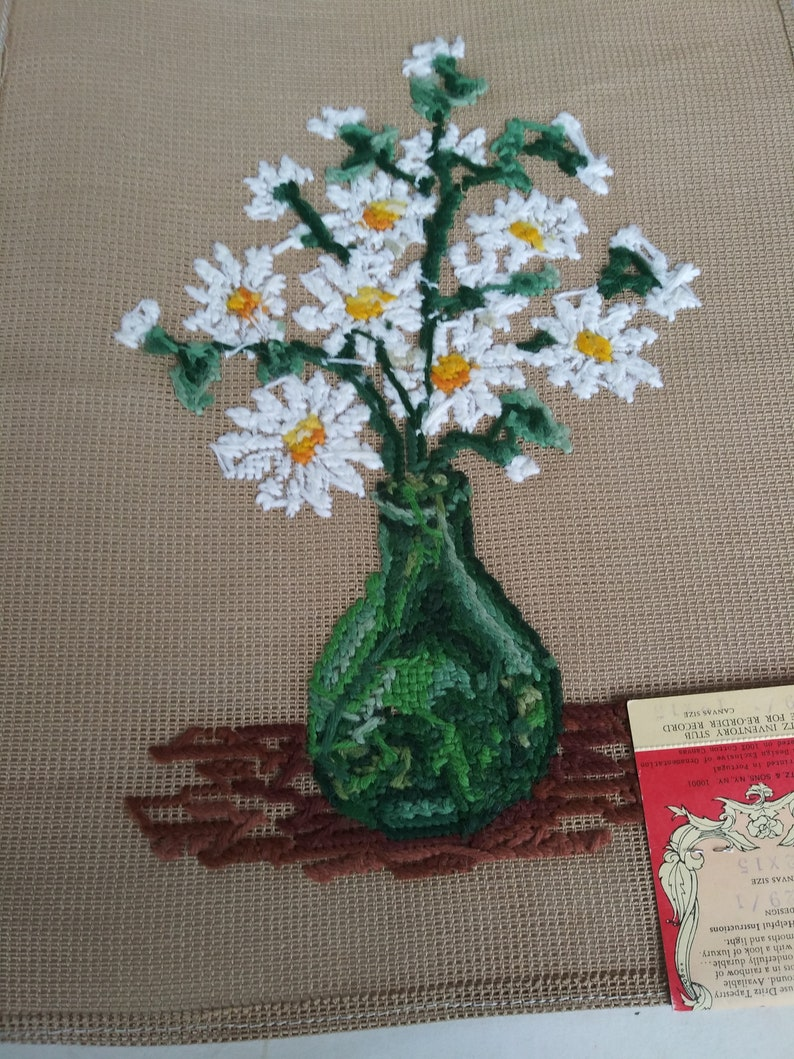Vintage Dritz Luxury Needlepoint Daisies in a VaseScovill