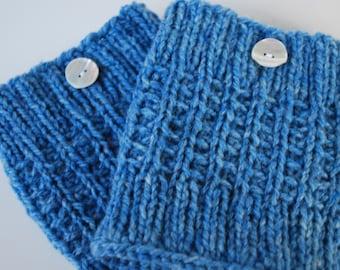 Crochet light blue  Boot Cuffs with button