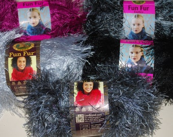 1 skein Lion Brand Fun Fur Yarn, Choose your color.