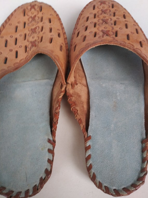 Slippers women, women leather slippers Vintage  h… - image 3