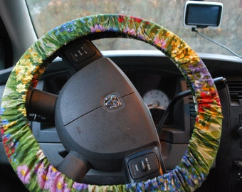 Steering Wheel Cover Multicolored floral patterned