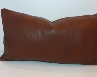 Genuine African Leather Pillow Cover, Authentic Lambskin Brown Leather from Africa, Lumbar  12 x 16