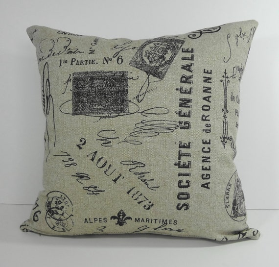French Script Decorative Pillow Cover Vintage French Script Etsy
