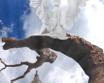 Divine Light, Angel Art, Angel Photo Collage, Whimsical Wall Art, Angel