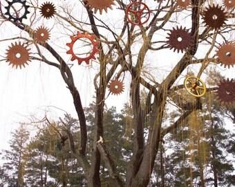 Tree Of Contemplation, Photo, Photo Collage, Tree Art, Tree Collage, Gears, Boho Art