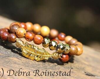 Wood Boho Bracelets, Stack Bracelets, Stretch Bracelets, Set of Two, Wood Bracelets, Stackable, Boho
