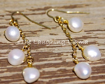 Freshwater Pearl Dangle Earrings, Pearl Earrings, Boho Earrings, Pearls