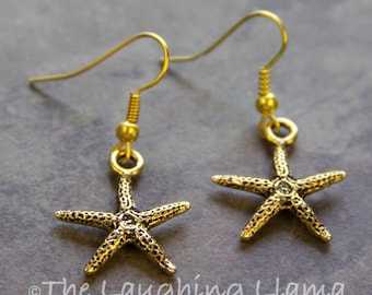Gold Starfish Earrings, Beach Earrings, Beach Jewelry, Starfish Earrings, Summer Earrings