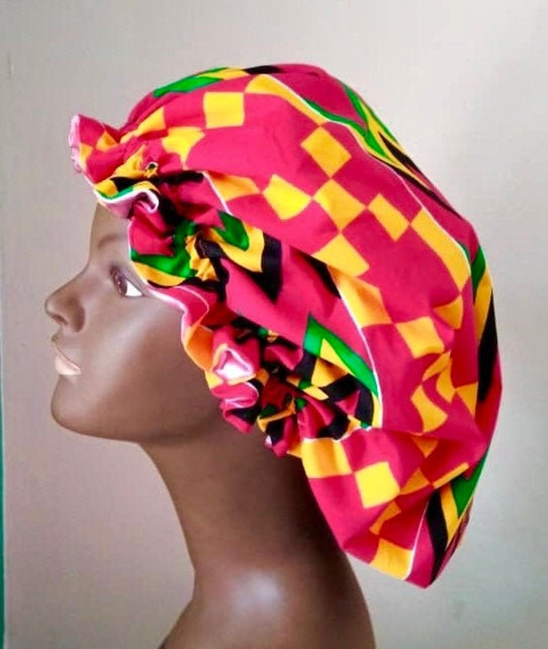 Foullard African print satin lined bonnet  Adjustable image 0