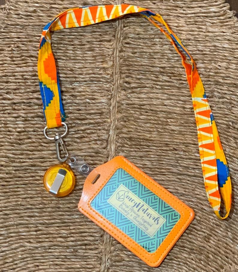 African Lanyard  Ankara print badge Holder with retractable image 0