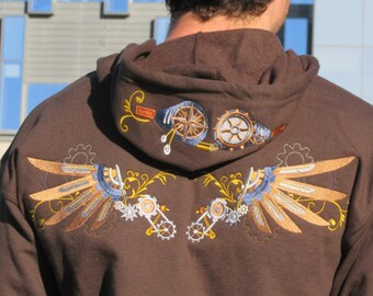 Steampunk wings and goggles hoody - Size Small