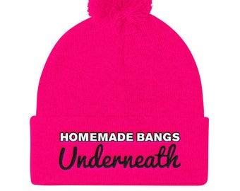 Homemade Bangs Underneath - Embroidered Beanie - Funny Beanie - Funny Hat -  Pink Beanie - Subversive - Punk - Womens Beanie - Pom Pom Beanie a49f1919ec80