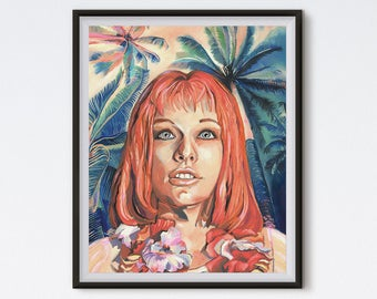 Multi Pass - Oil Painting - Leeloo Portrait - Art Print - The Fifth Element - Floral Painting - Tropical - Pop Culture Art - Palm Tree Art