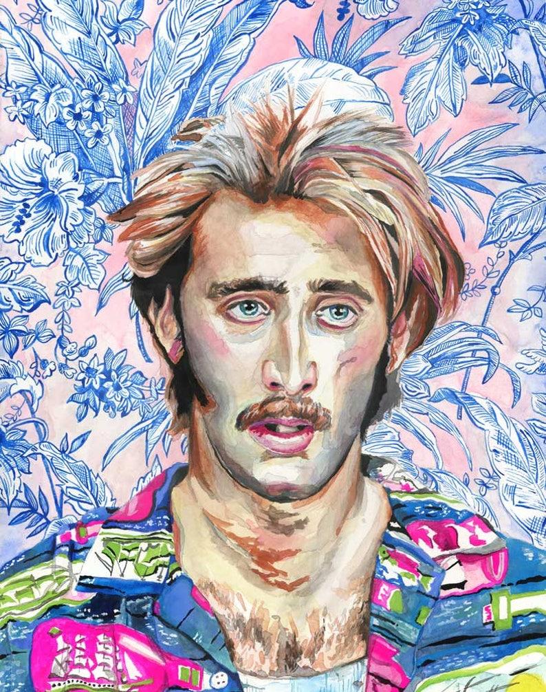 HI Expectations - Raising Arizona Painting - Nicolas Cage Portrait - HI  McDunnough - Floral Painting - Pop Culture Art - Nic Cage Painting