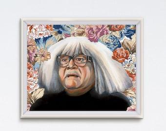 Frank - Oil Painting - Danny DeVito - Art Print - It's Always Sunny In Philadelphia - Floral Painting - Ango Gobloggian - Funny Art - IASIP