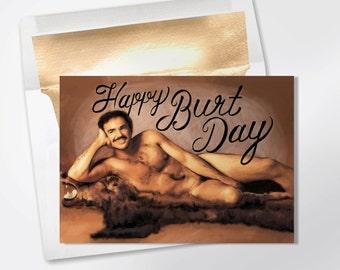 Birthday Card - Happy Burt Day - Funny Birthday Card - Funny Greeting Card - Happy Birthday - Friend Birthday Card - Burt Reynolds Card
