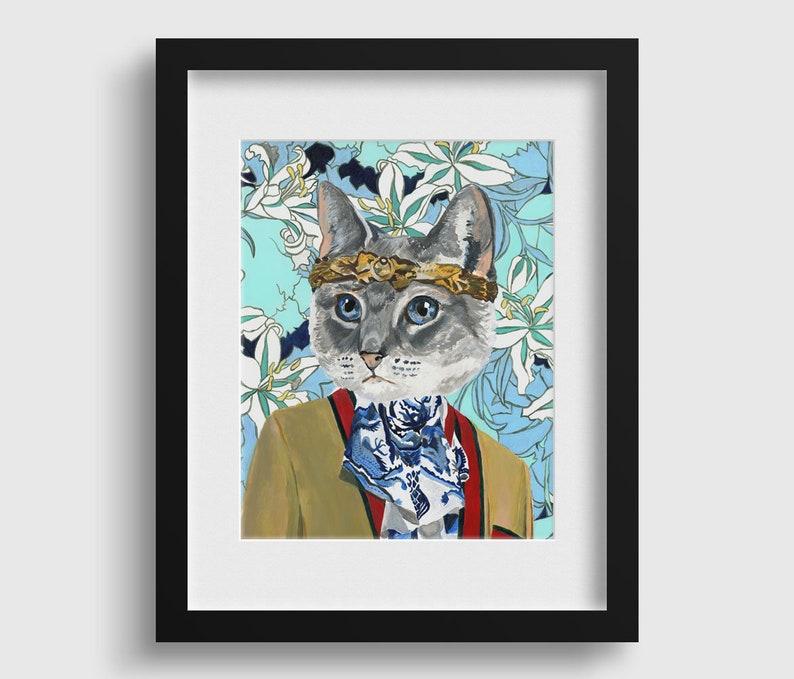 d5a91f51177 Gucci Cat Cat Painting Fashion Print Canvas Art Cat
