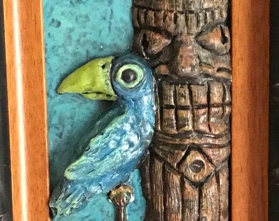 Tiki Bird and Tiki Statue Framed Original 3D sculpture blue bird