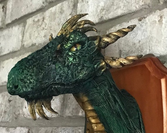 Paper Mache Taxidermy Dragon Head many colors available!